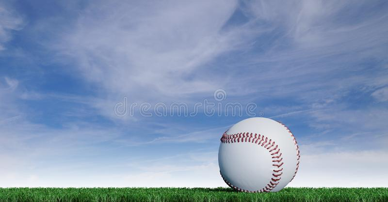 Baseball put on a well-cut lawn. With a blue sky background stock illustration