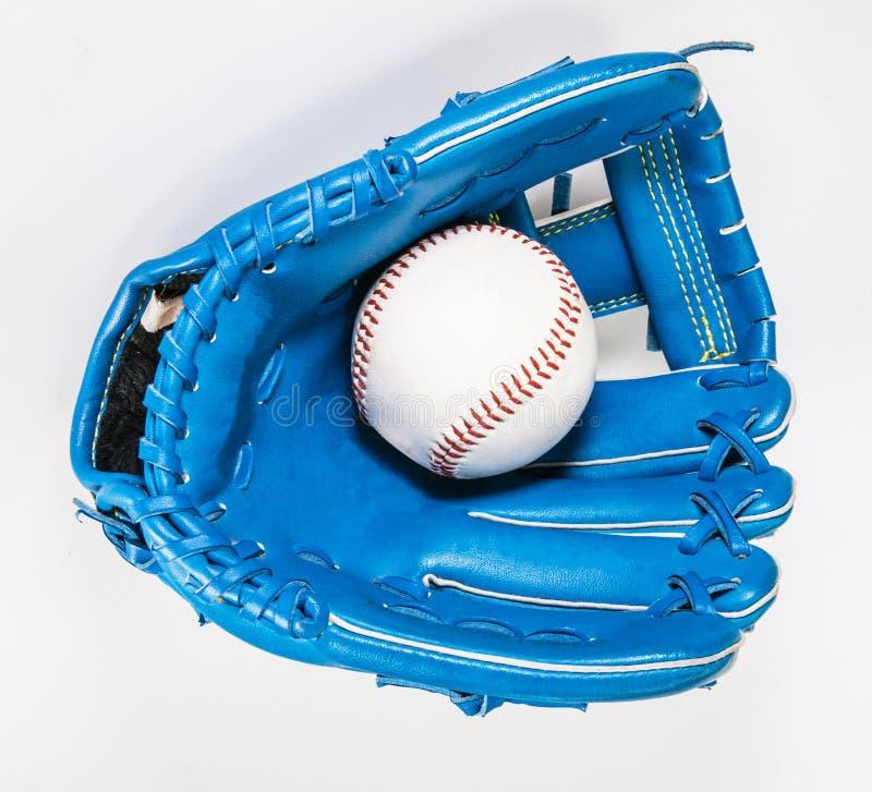 Baseball rękawiczki koloru błękit odizolowywał na bielu z ścinek ścieżką a obraz royalty free