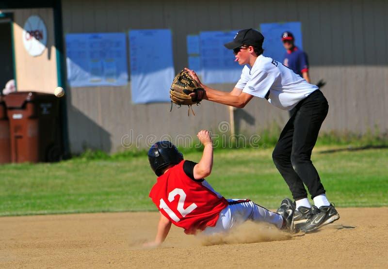 Baseball race against the ball stock photos