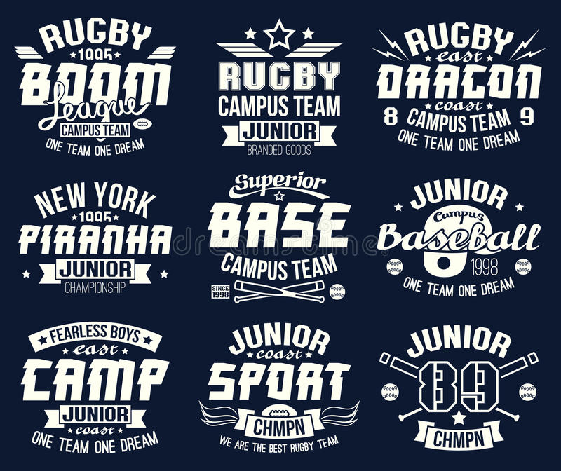 Baseball and rugby college team sport emblems. Graphic design for t-shirt. White print on a dark background vector illustration