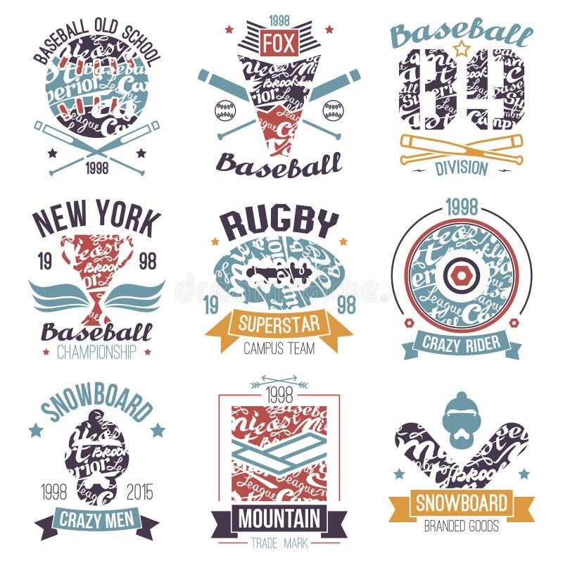 Baseball, Rugby, Snowboard, Skateboardcollege-Sportembleme lizenzfreie stockfotos