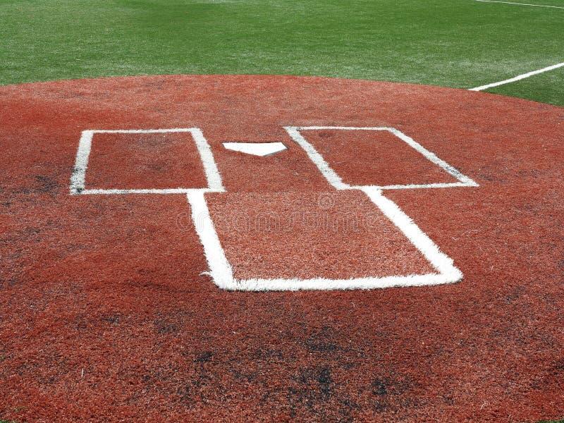 Baseball - Schlagmal und der Kasten des Teiges lizenzfreie stockfotos