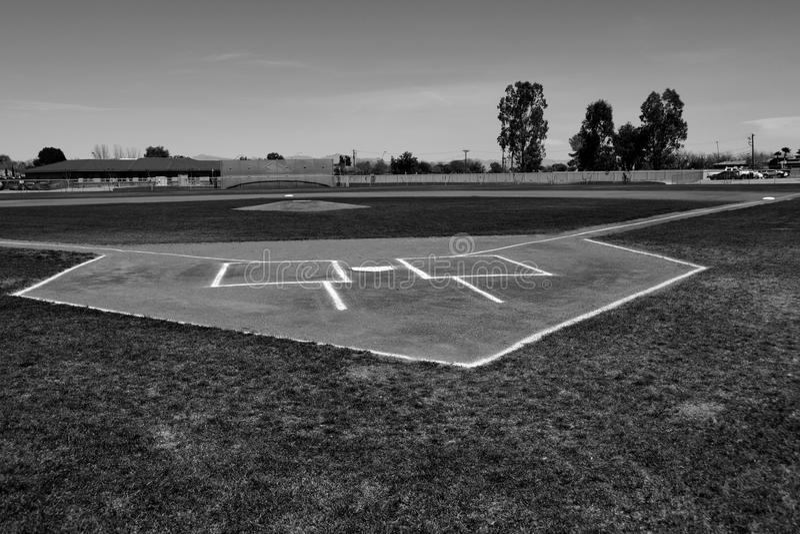 Baseball-Schlagmal und Teig-Kasten lizenzfreie stockbilder