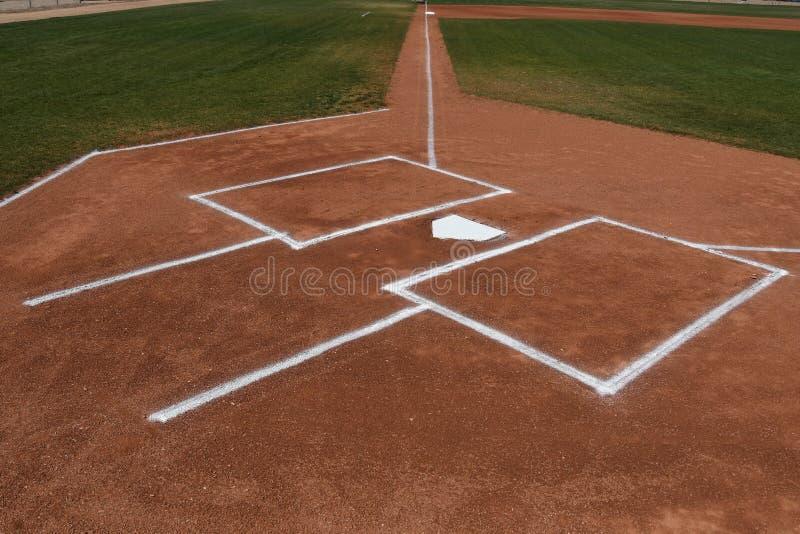 Baseball-Schlagmal und Teig-Kasten stockbild