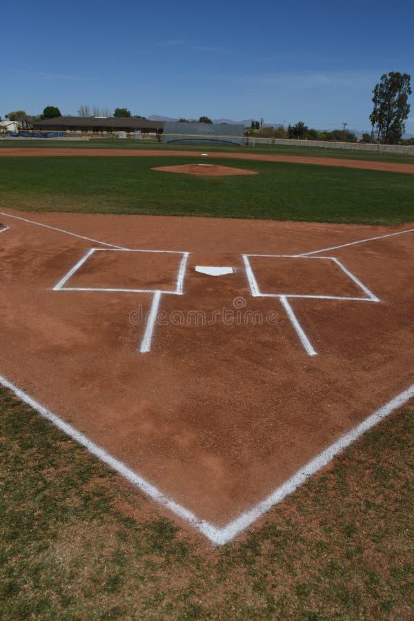 Baseball-Schlagmal und Teig-Kasten stockbilder