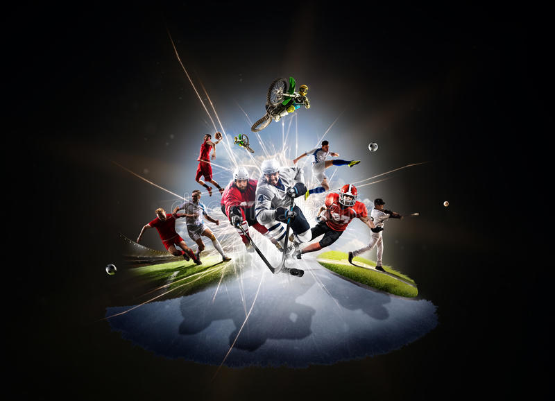 Baseball-Schmutzfahrrad des multi Sportcollagenfußballbasketballhockeys footbal stockbilder