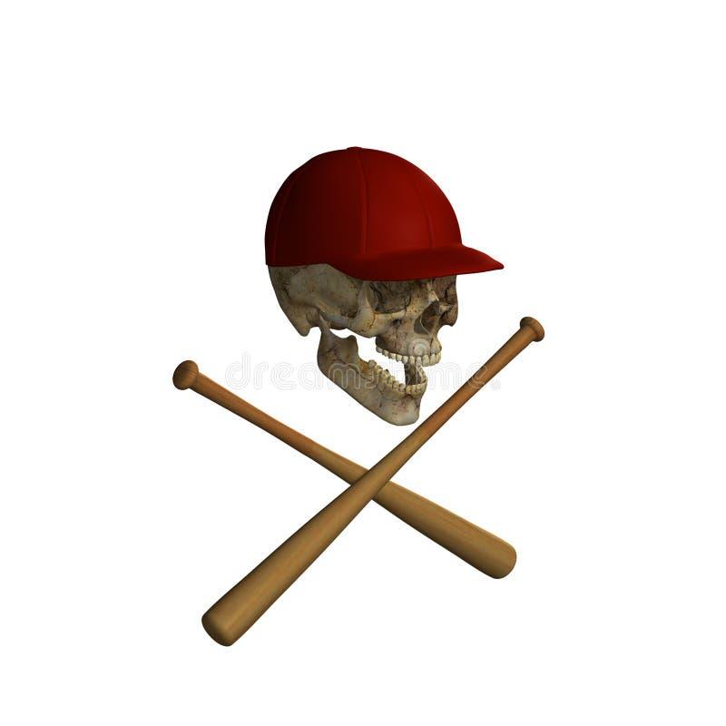 Baseball Skull and Cross Bats 3 vector illustration