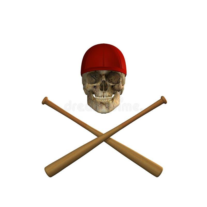 baseball slår till korsskallen royaltyfri illustrationer