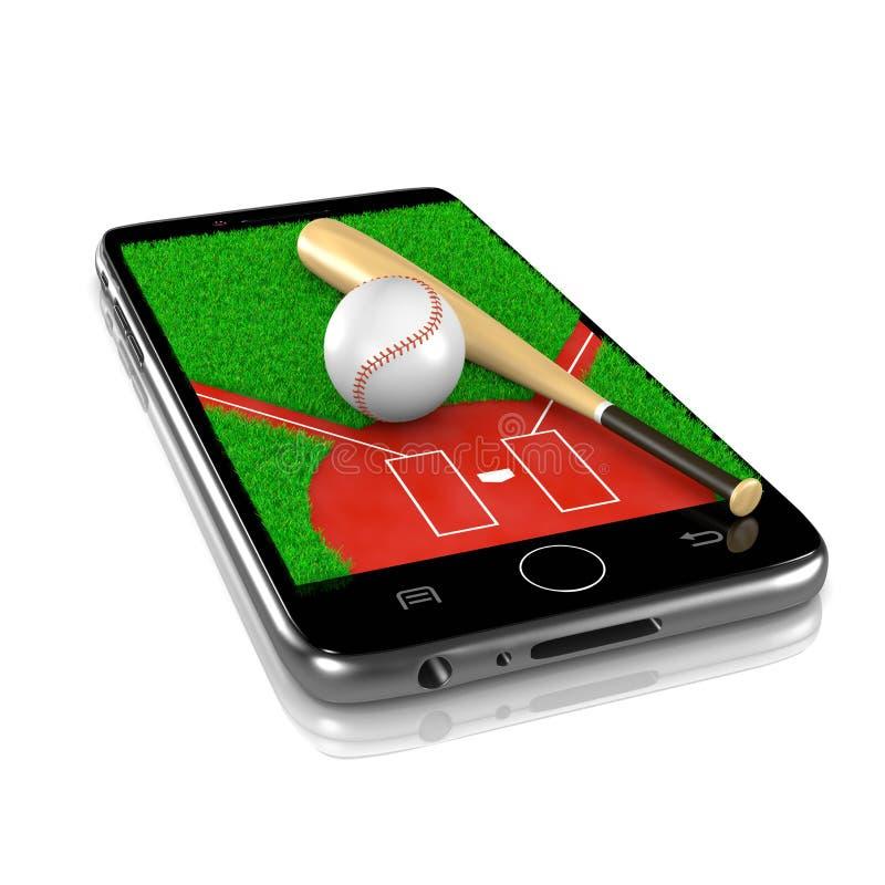 Baseball on Smartphone, Sports App vector illustration