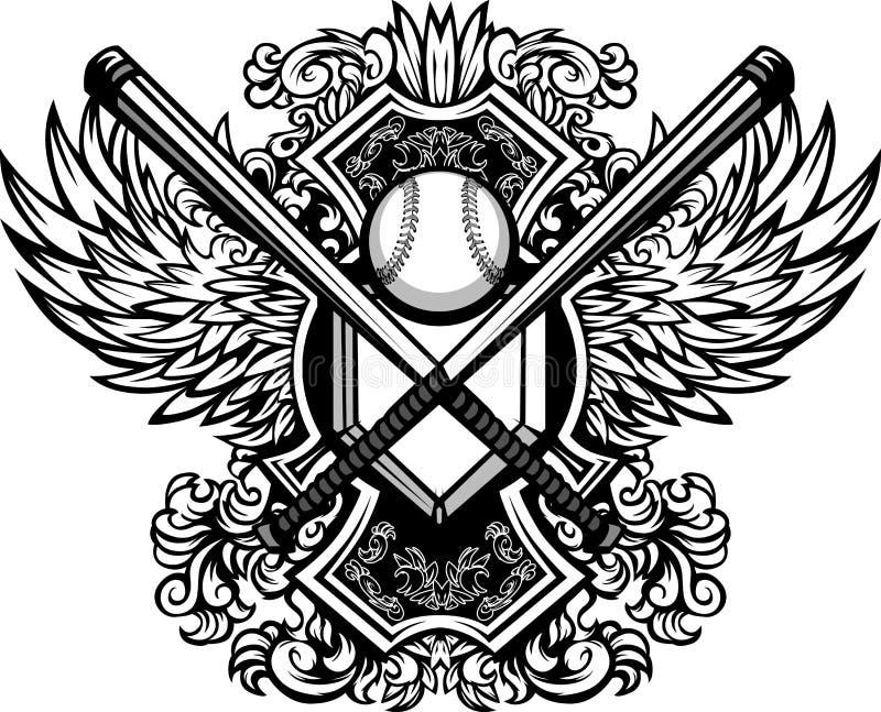 Baseball Softball Bats Ornate Graphic Template Stock Photography