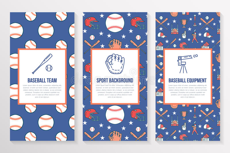 download baseball softball sport game brochure template flyer vector trifold colored blue background