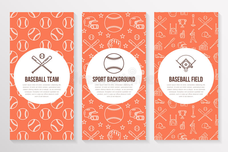 download baseball softball sport game brochure template flyer vector trifold orange background