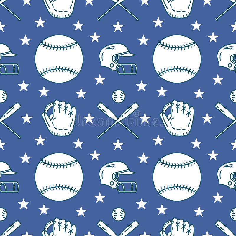 Baseball, softball sport game vector seamless pattern, background with line icons of balls, gloves, bat, helmet. Linear. Signs for championship, equipment store vector illustration