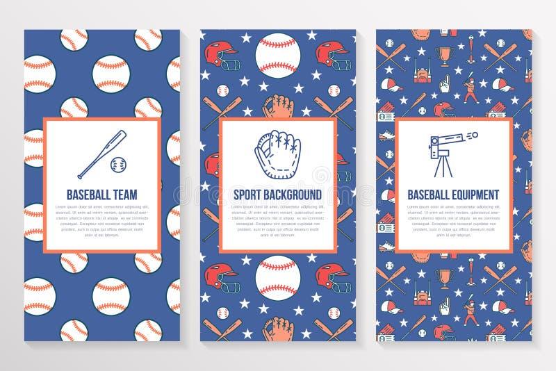 Baseball, softballa sporta broszurki gemowy szablon, ulotka Wektorowy trifold barwiony błękitny tło Wyposażenie cienka linia ilustracja wektor