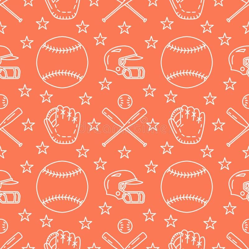 Baseball, softballa sporta gemowy wektorowy bezszwowy wzór, pomarańczowy tło z kreskowymi ikonami piłki, gracz, rękawiczki, nieto royalty ilustracja