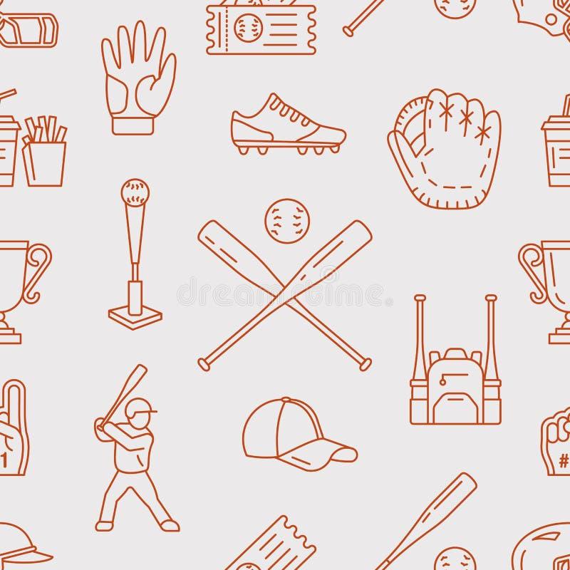 Baseball, softballa sporta gemowy wektorowy bezszwowy wzór, tło z kreskowymi ikonami piłki, gracz, rękawiczki, nietoperz, hełm royalty ilustracja