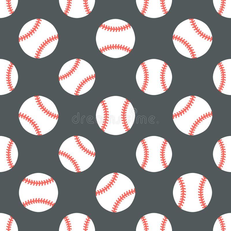 Baseball, softballa sporta gemowy wektorowy bezszwowy wzór, tło z kreskowymi ikonami piłki Liniowi znaki dla ilustracja wektor