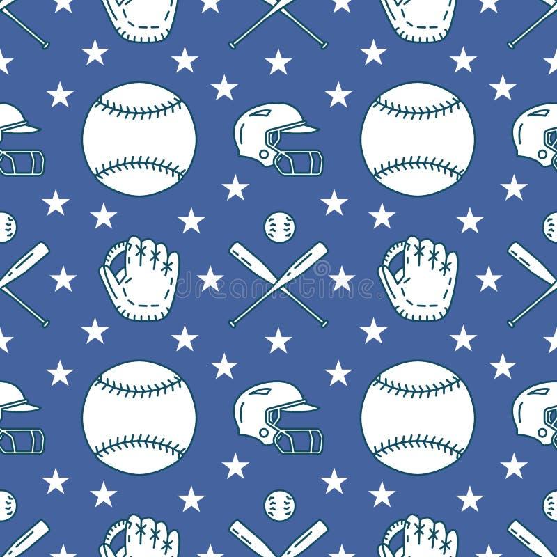 Baseball, softballa sporta gemowy wektorowy bezszwowy wzór, tło z kreskowymi ikonami piłki, rękawiczki, nietoperz, hełm liniowy ilustracja wektor