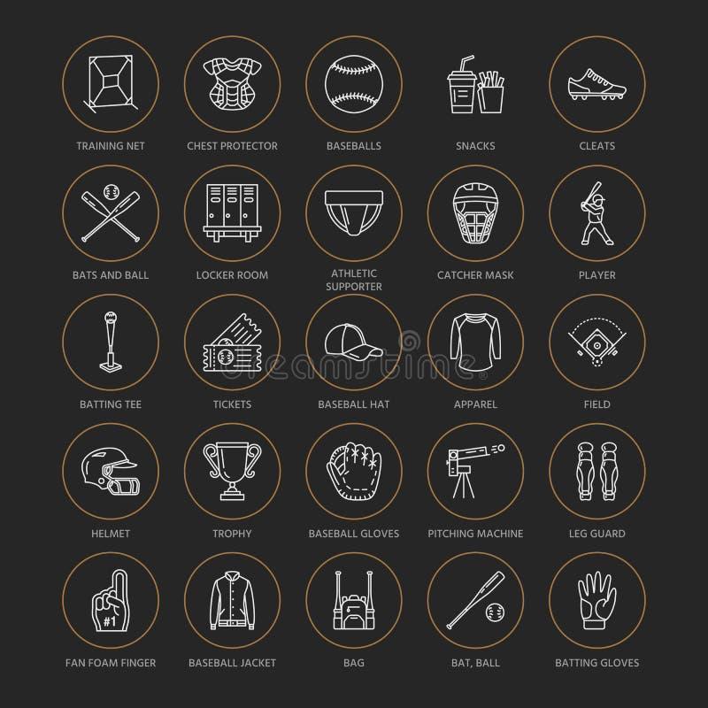 Baseball, softballa sporta wektoru linii gemowe ikony Piłka, nietoperz, pole, hełm, upada maszynę, łapacz maska Liniowi znaki royalty ilustracja