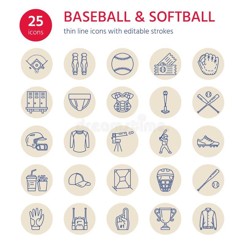 Baseball, softballa sporta wektoru linii gemowe ikony Piłka, nietoperz, pole, hełm, upada maszynę, łapacz maska Liniowi znaki ilustracji