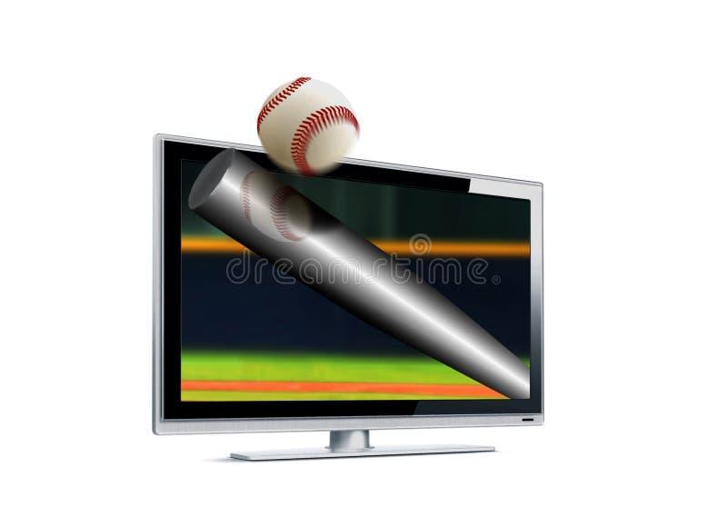 Baseball som slår bollen ut från LCD-skärmen royaltyfri illustrationer