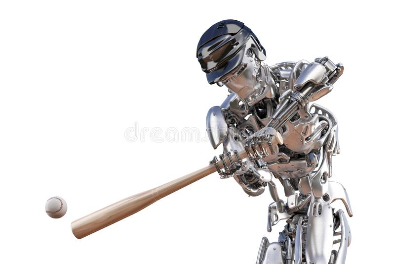 Baseball-Spieler-Roboter Menschen- und Cyborgroboterintegrationskonzept Roboterillustration der technologie 3D vektor abbildung