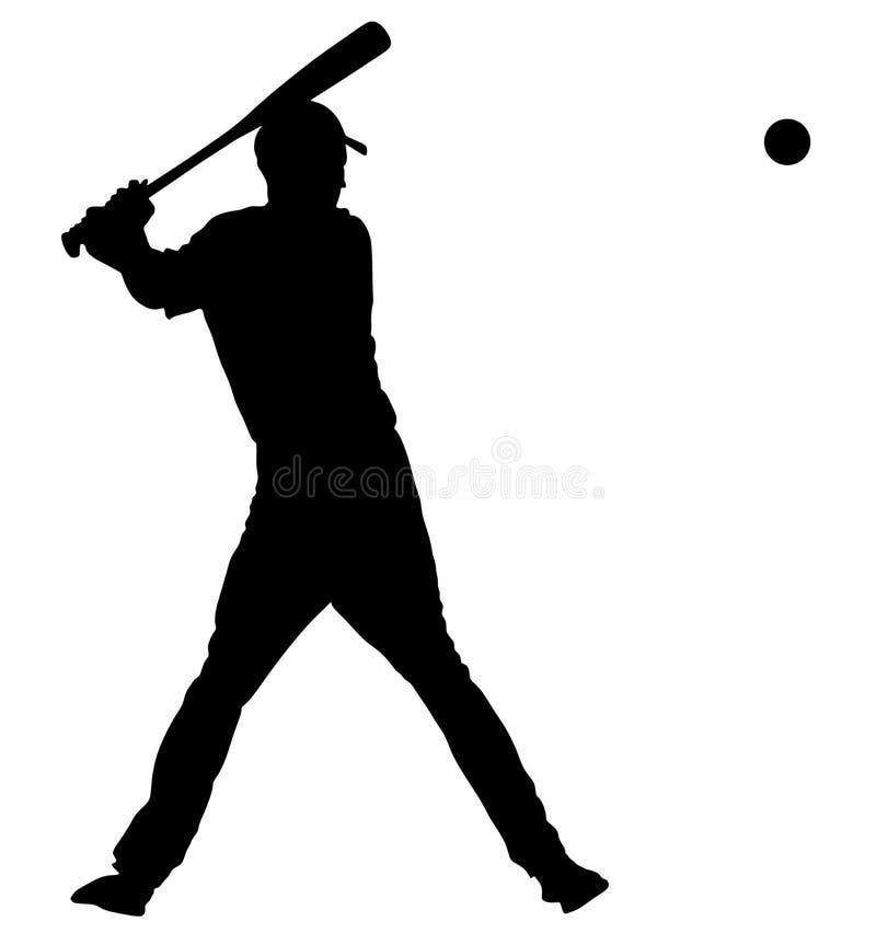 Baseball-Spieler-Vektorschattenbild Baseball-Teig, der Ball mit Schläger schlägt lizenzfreie abbildung