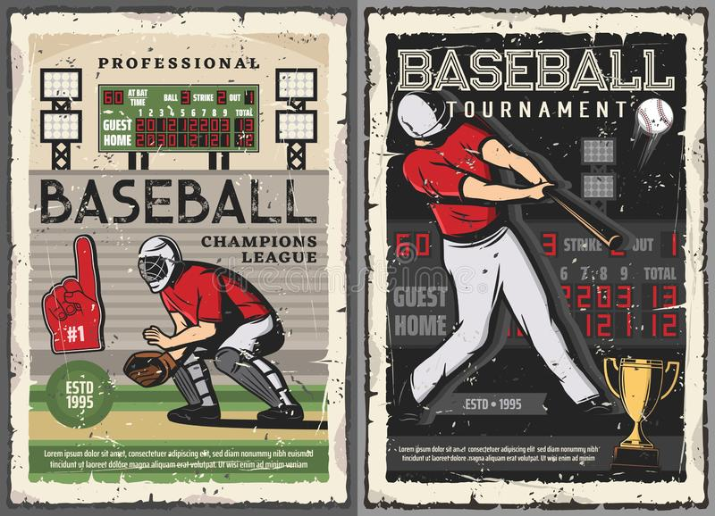 Baseball sport game, players on field. Baseball sport game and players, vector design. Championship match, player with bat in team uniform, glove and helmet on stock illustration