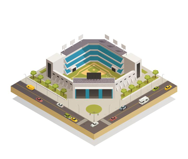 Baseball Sport Stadium Isometric Composition. Classic baseball ballpark play area with sport stadium seating entrance and adjacent streets isometric composition royalty free illustration
