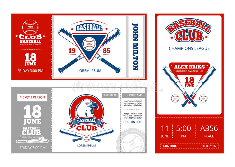 Baseball Sports Ticket Vector Design With Vintage Baseball Team ...
