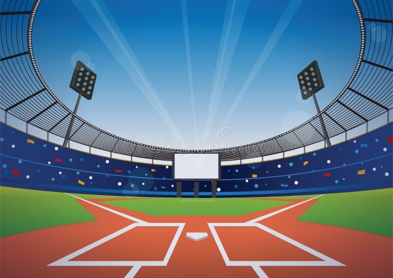 Baseball stadium background. Baseball field with bright stadium. vector illustration royalty free illustration