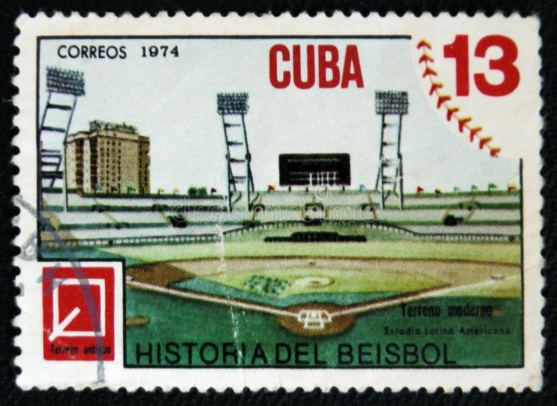 Baseball stadium, one stamp from series History ob Baseball, circa 1974. MOSCOW, RUSSIA - JANUARY 7, 2017: A stamp printed shows baseball stadium, one stamp from stock photos