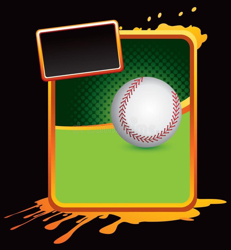 Baseball sulla bandiera splattered arancione illustrazione di stock