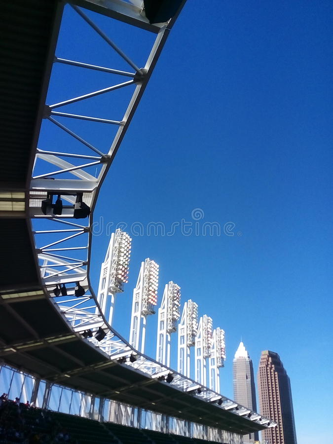 Baseball in Sunny Cleveland. The Cleveland Indians play at Progressive Field stock photos