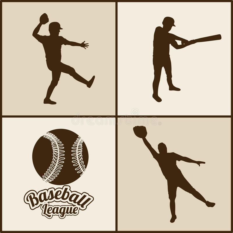 Baseball sylwetki ilustracji