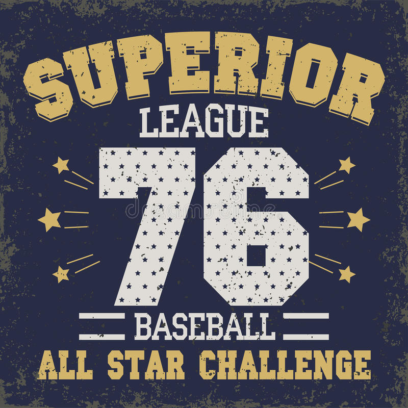 Baseball t-shirt graphic design. All Stars Championship typography emblem Sport wear tshirt stamp graphics, vintage tee print, athletic apparel design - vector royalty free illustration