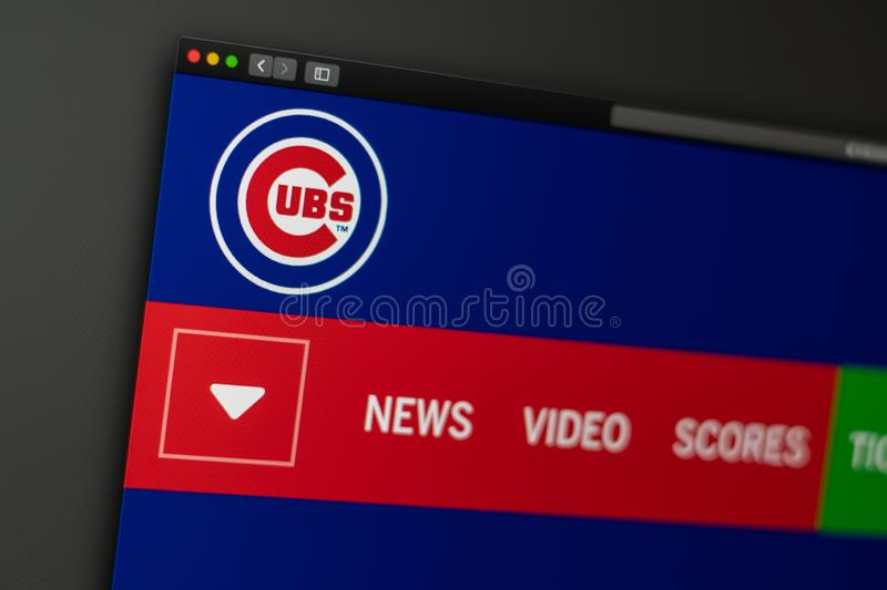 Baseball team Chicago Cubs website homepage. Close up of team logo. Miami / USA - 04.20.2019: Baseball team Chicago Cubs website homepage. Close up of team logo royalty free stock image