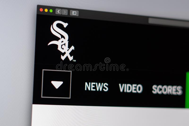 Baseball team Chicago White Sox website homepage. Close up of team logo. royalty free stock photography
