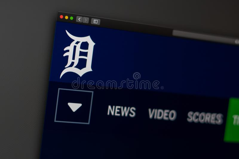 Baseball team Detroit Tigers website homepage. Close up of team logo. Miami / USA - 04.20.2019: Baseball team Detroit Tigers website homepage. Close up of team royalty free stock image