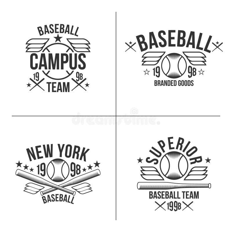Baseball team emblems. Set of black emblems baseball team on white background vector illustration
