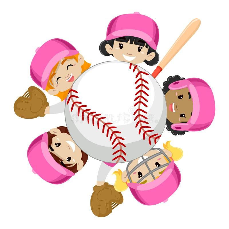 Baseball Team Girls intorno alla palla illustrazione vettoriale