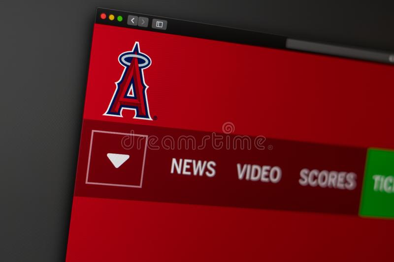 Baseball team Los Angeles Angels website homepage. Close up of team logo. Miami / USA - 04.20.2019: Baseball team Los Angeles Angels website homepage. Close up royalty free stock photo