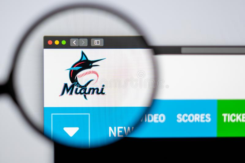 Baseball team Miami Marlins website homepage. Close up of team logo. Miami / USA - 04.20.2019: Baseball team Miami Marlins website homepage. Close up of team stock photos