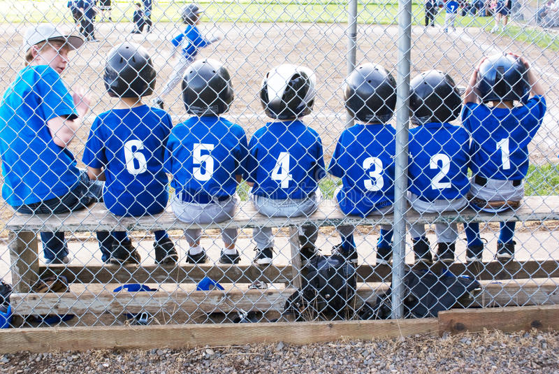 Baseball team in numerical order.. stock photo
