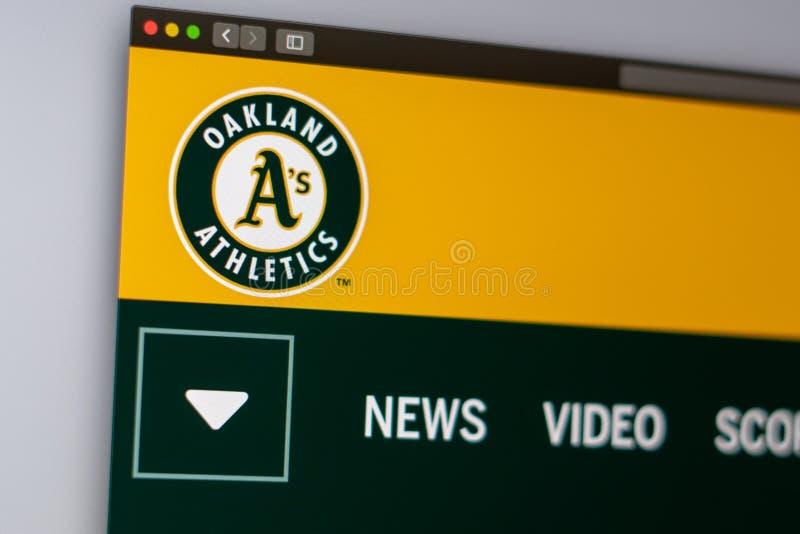 Baseball team Oakland Athletics website homepage. Close up of team logo. stock photography
