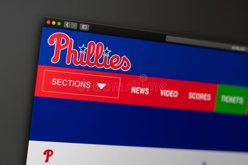 Baseball team Philadelphia Phillies website homepage. Close up of team logo. stock photography