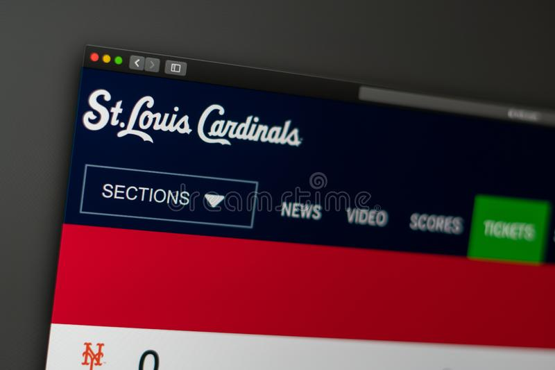 Baseball team St. Louis Cardinals website homepage. Close up of team logo. royalty free stock photos