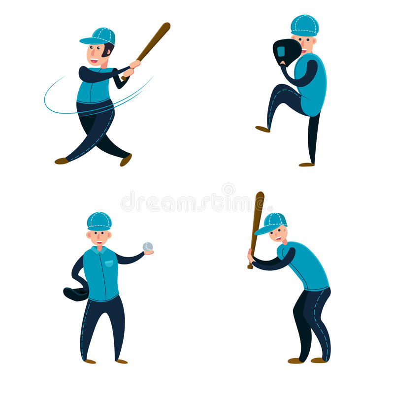Baseball team: two batters, pitcher and catcher. vector illustration
