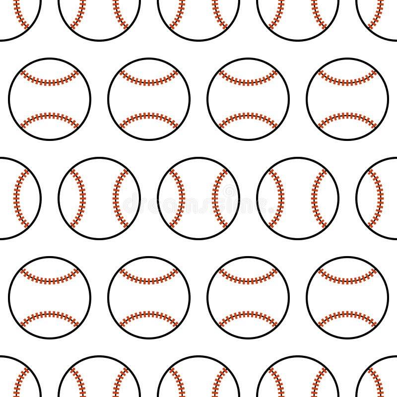 baseball Teste padrão sem emenda com bolas do esporte Vetor ilustração royalty free