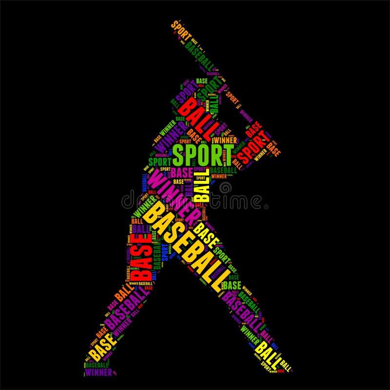 Baseball-Typografiewortwolke bunte Vektorillustration stock abbildung